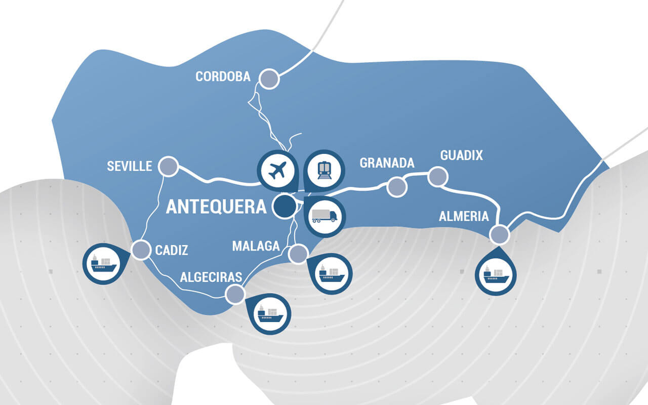 Map Andalusia Puerto Seco Antequera